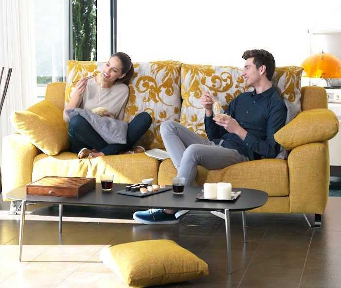 Which sofa goes best with a small living room?